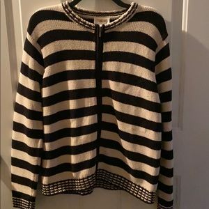 TALBOTS STRIPED CARDIGAN HEAVY KNIT SWEATER LARGE